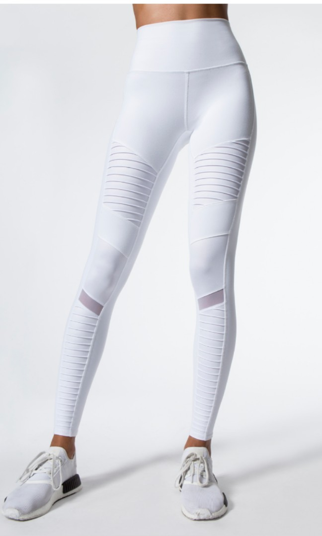 15a6bb90019e65 Alo yoga high waist white moto leggings in size xs, Sports, Sports ...