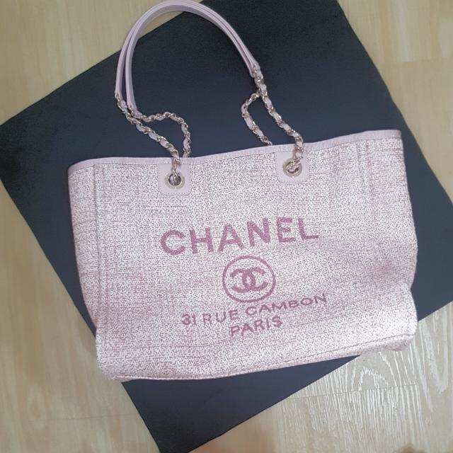 6695c35ade7b Authentic CHANEL DEAUVILLE CANVAS 31 RUE CAMBON SHOULDER TOTE In Pink,  Women's Fashion, Bags & Wallets, Handbags on Carousell