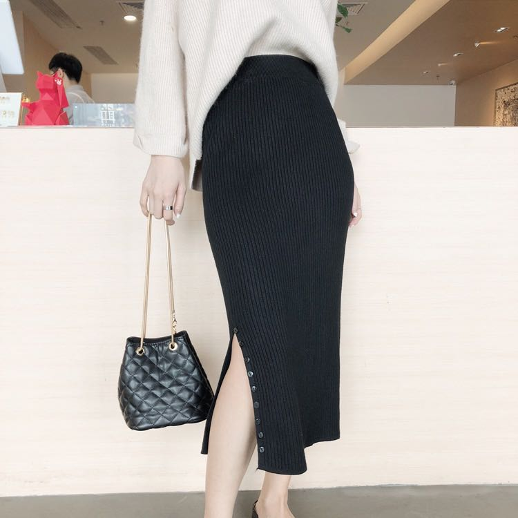 01c2c80cf58c99 Black Coloured Side Buttons Slit Knitted Skirt, Women's Fashion ...