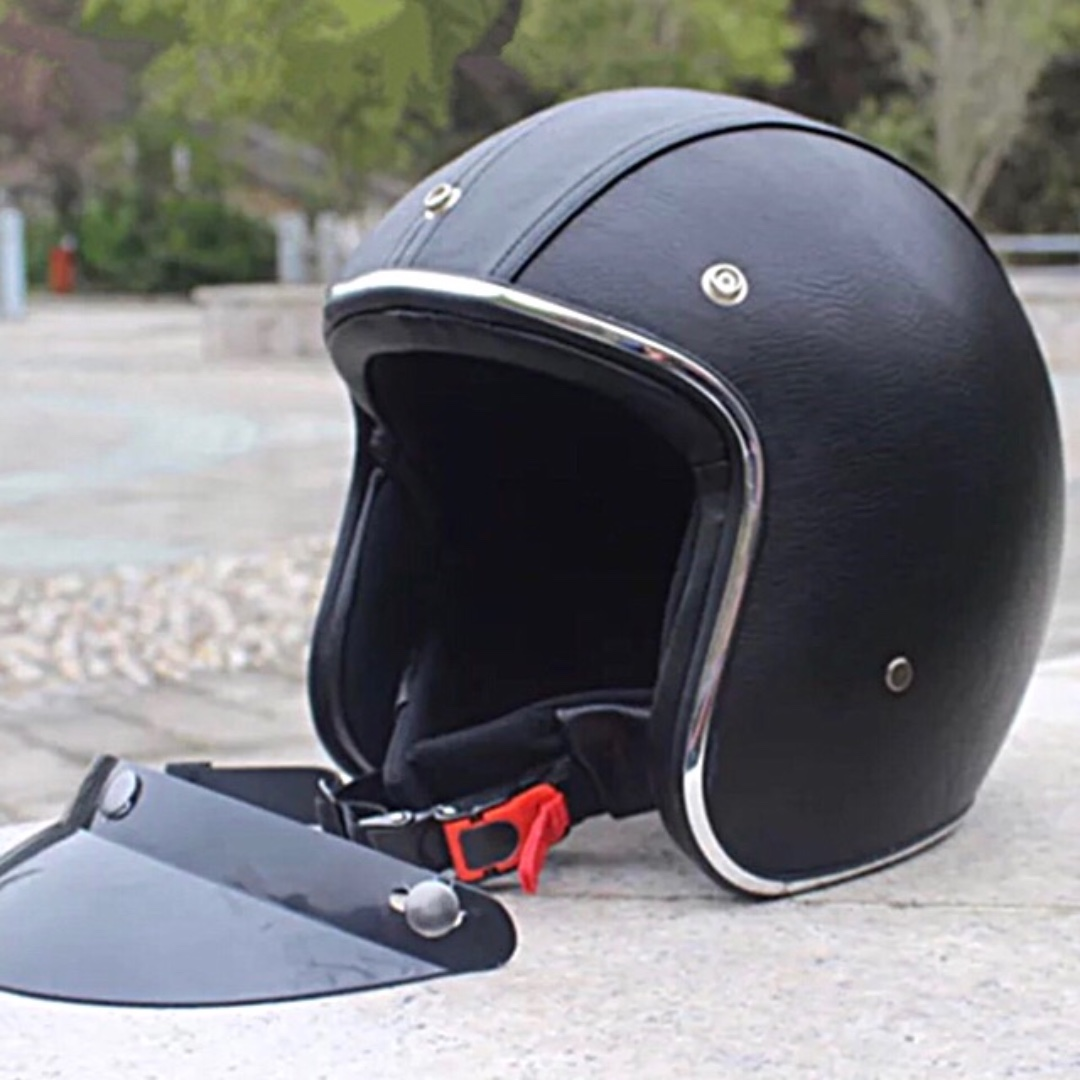Black Leather with Silver Lining Motorcycle Helmet Open Face Three Button  Snap Retro Vintage Vespa Scooter Cafe Racer Motorbike Leather Gloss Old