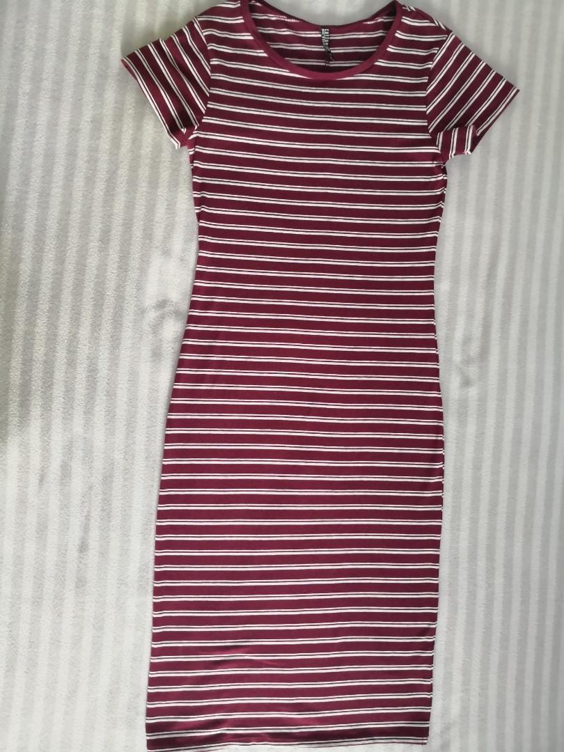 0512f8c5619d Cotton On Bodycon Striped Maroon Midi Dress
