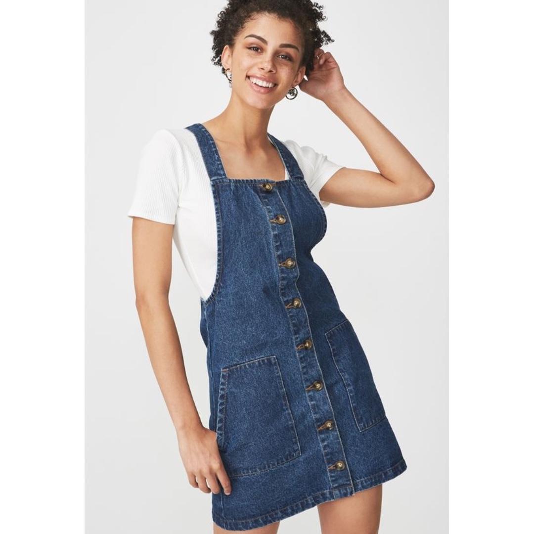 bcd081467f Cotton on button down denim pinafore dress, Women's Fashion, Clothes ...