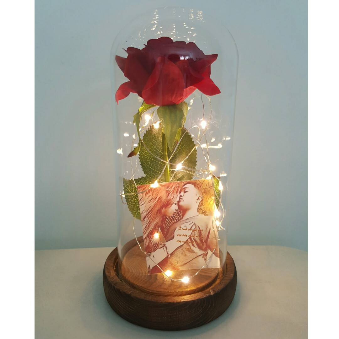 Custom Beauty And The Beast Rose Jar With Lights Gardening Flowers