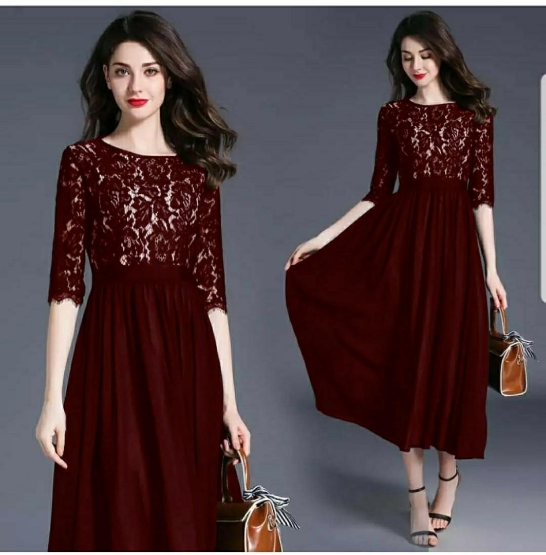 Ec Dress Alegria Maroon L Atasan Fashion Baju Dress Brukat Gamis