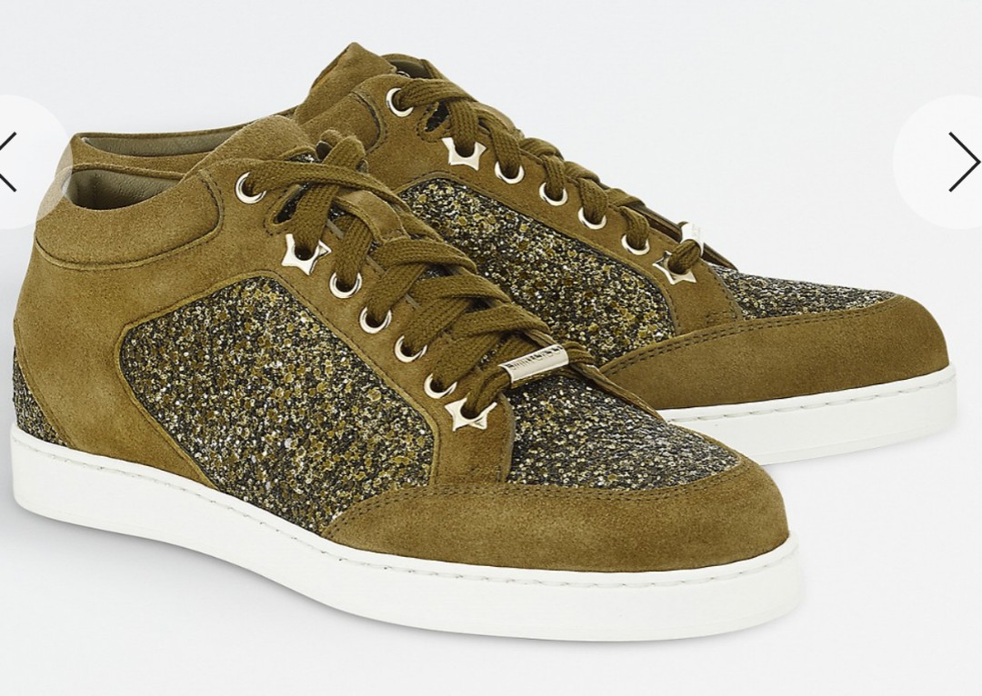 534dd249ee66 Jimmy Choo Miami coarse glitter and suede trainers, Women's Fashion ...