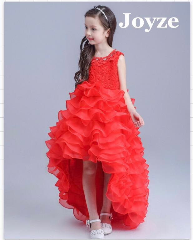 506707328d8 Kids Long Dress Fluffy Red Gown (Red Fluffy)