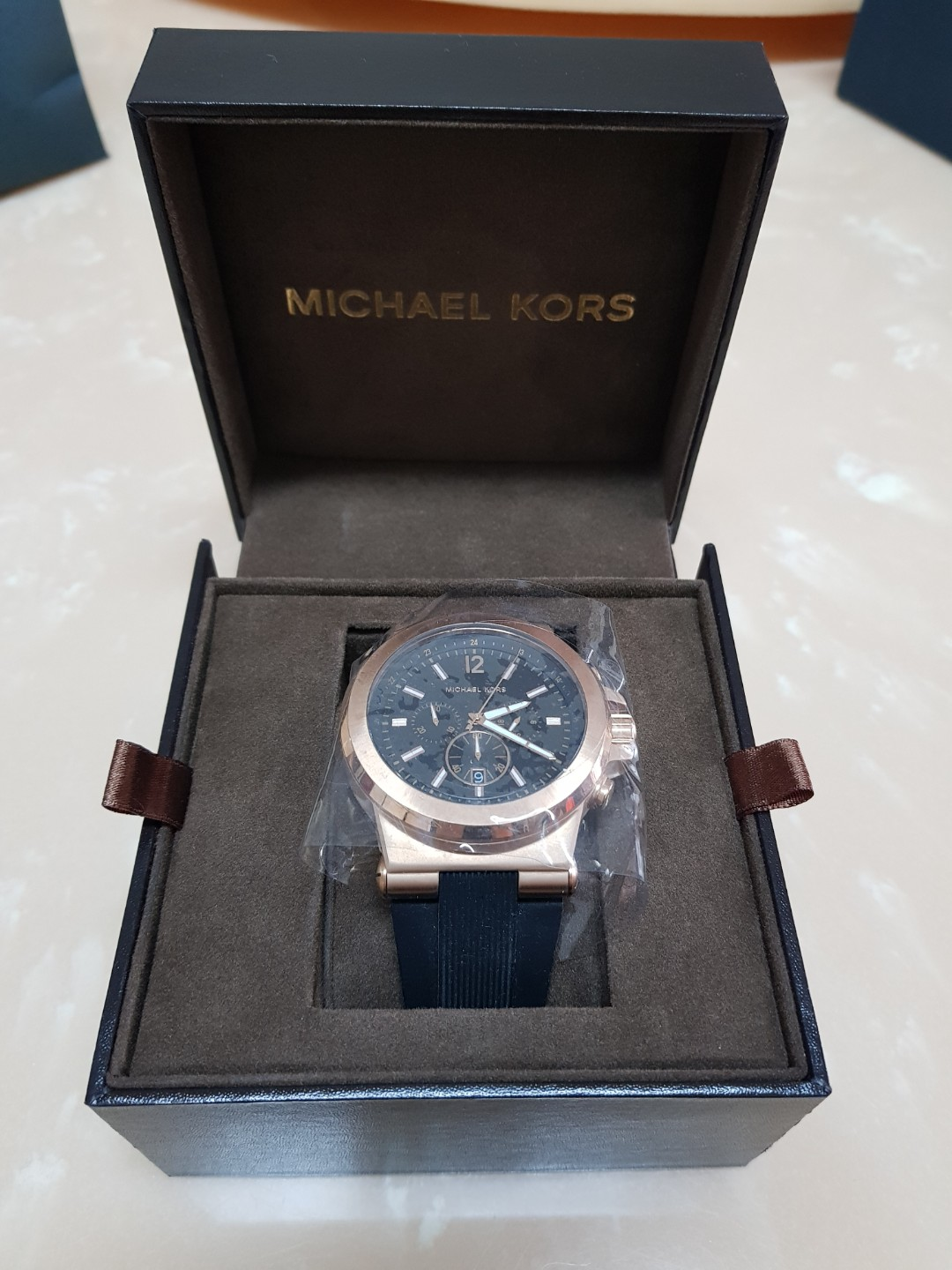 76e53f5a26d3 Michael Kors MK8184 oversized Dylan silicone chronograph watch ...