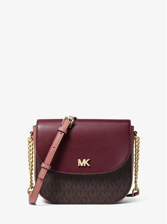 58b3bc64939 Michael Kors Mott Logo and Two-Tone Leather Dome Crossbody, Luxury ...