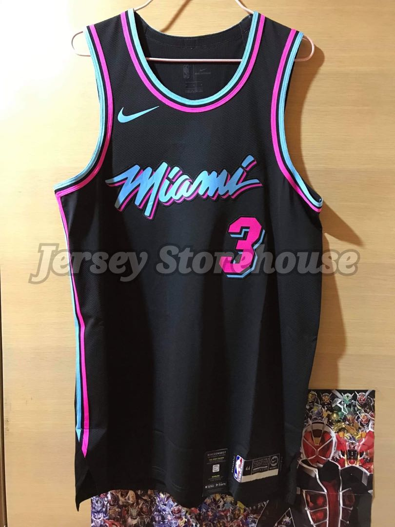 online store 6c432 908db Nike Miami Heat Dwayne Wade Vice Night Authentic Jersey size 44
