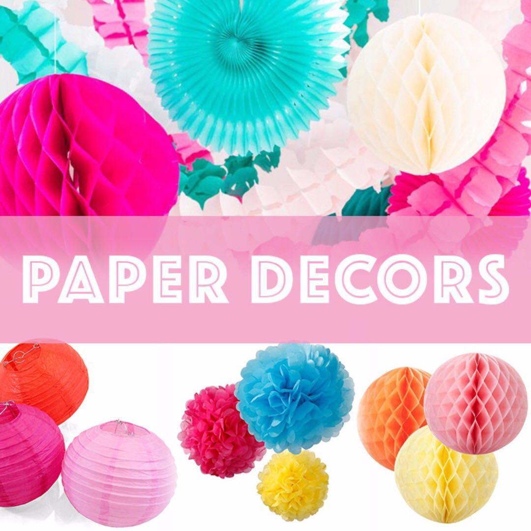 ㊗ Party Paper Fan Decoration / Pom Pom / Honeycomb / Lantern