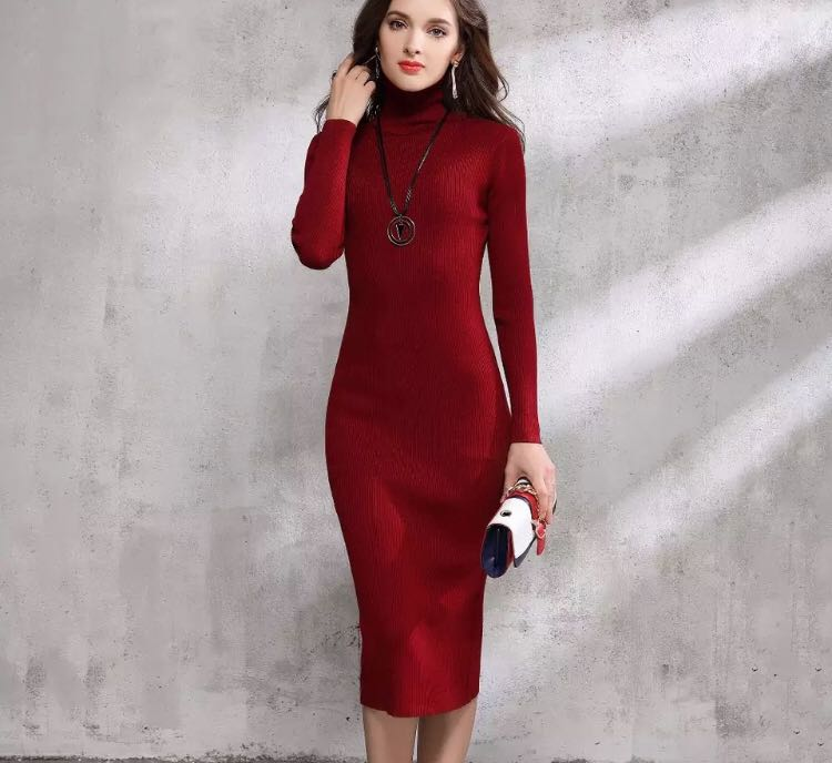 42a6dfcdc72 PO) 2018 Autumn Winter Women Sweater Dress Turtleneck Knitted Sexy ...