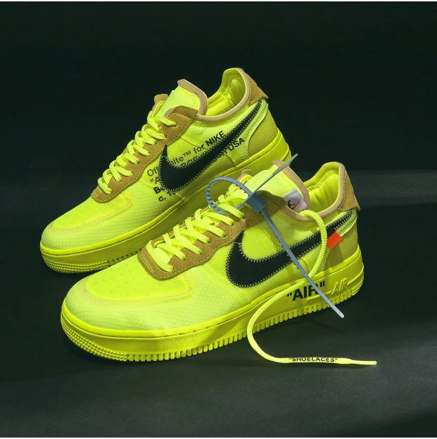 ce90f390844 PO  Nike Air Force 1 Low X Virgil Abloh OFF-WHITE - Volt   Black ...