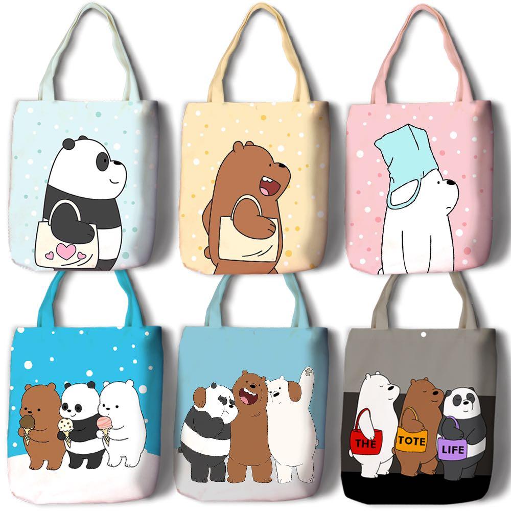 89b7637d5 PO We bare bears canvas tote bag ice bear panda grizz, Women's ...