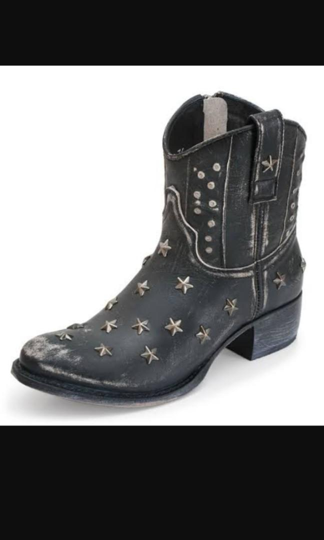 SENDRA Raspado Spell LEATHER HANDMADE cowboy cowgirl star studded ankle boots sz 37 / 6
