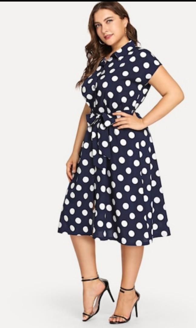 Shein size 3xl navy blue and white polka dot dress plus size