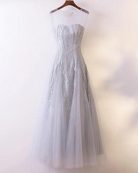 d2d01cd1f6e Silver Sequin Evening Gown  Long Dinner Dress  Maxi Dress  Prom Dress  Wedding  Dress  Bridesmaid Dress (RENT)