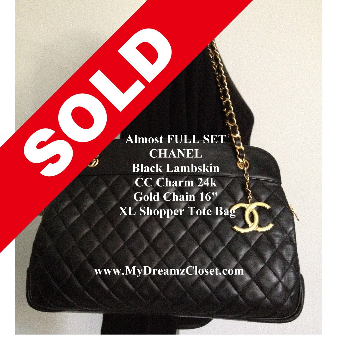 8b46cbacbd8c SOLD - Almost FULL SET CHANEL Black Lambskin CC Charm 24k Gold Chain 16
