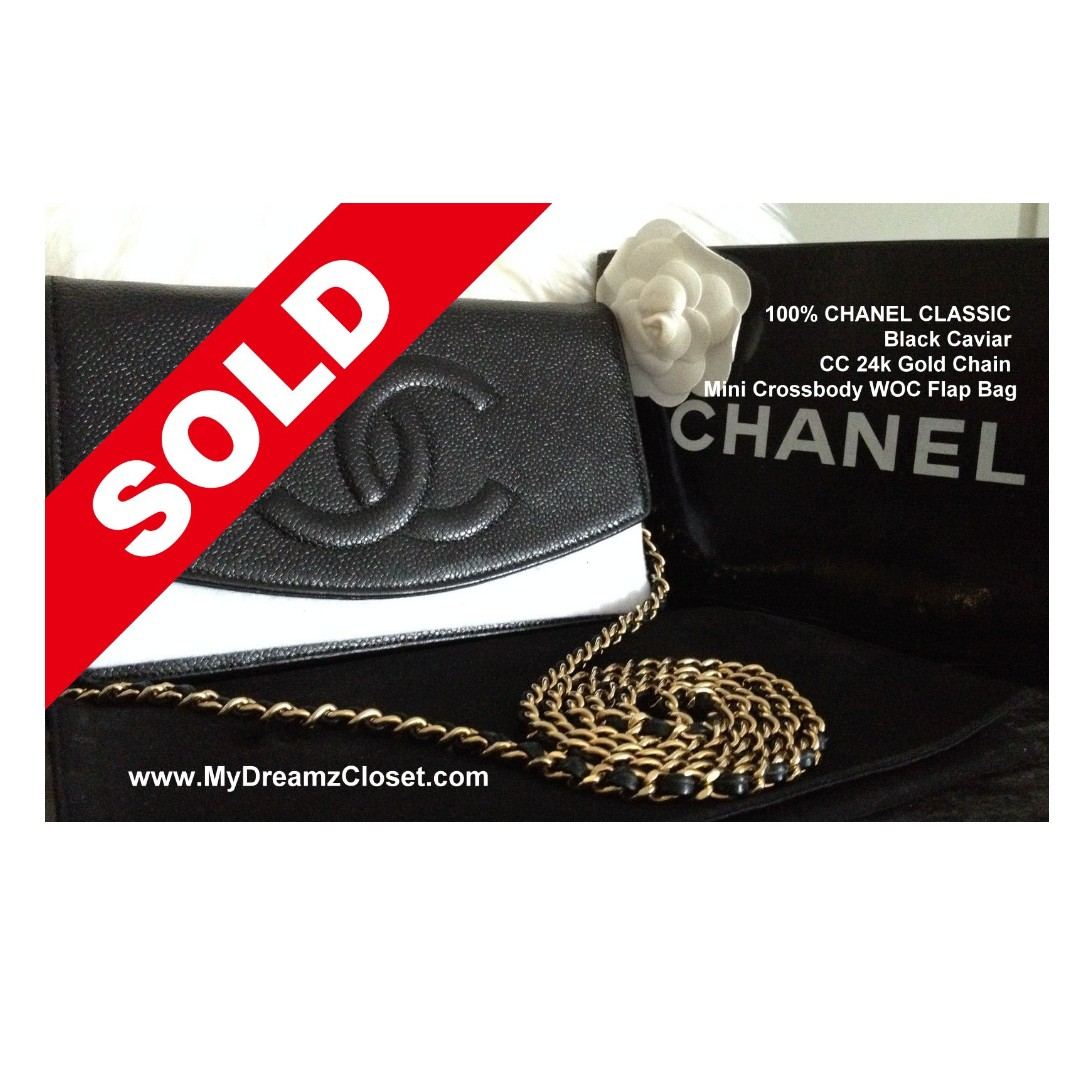 9cd196d10862 SOLD - ALMOST FULL SET CHANEL CLASSIC Black Caviar WOC Flap Bag ...