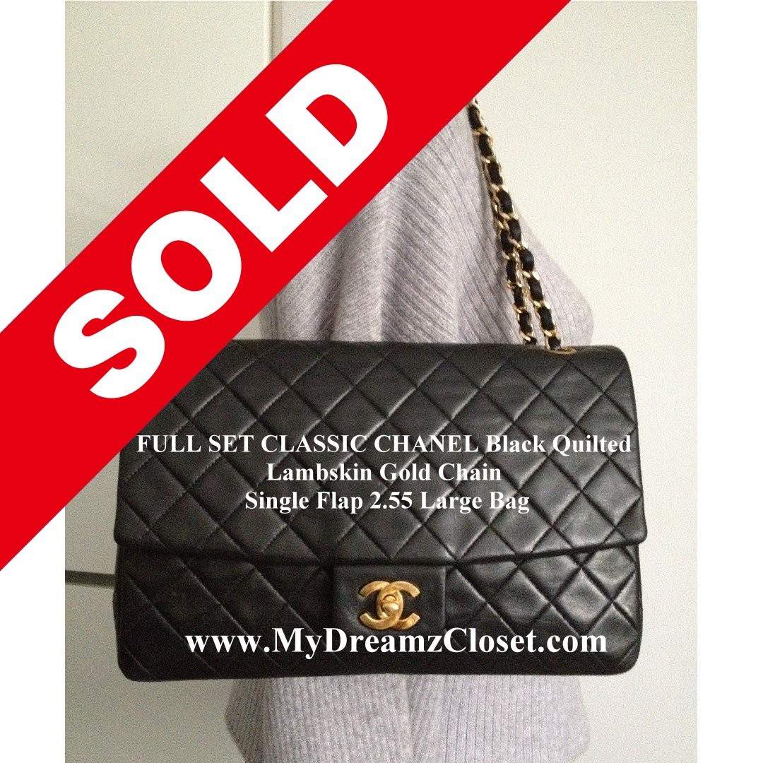 58d849bec953 SOLD - FULL SET CLASSIC CHANEL Black Quilted Lambskin Gold Chain ...