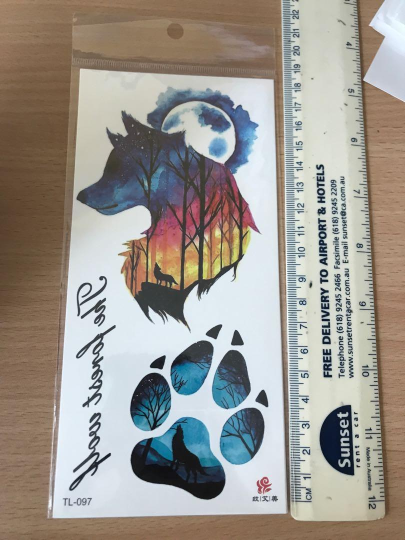 Wolf / Paw Print Temporary Tattoos, Everything Else on Carousell