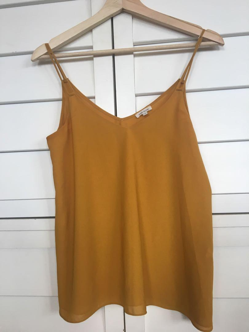 Women's mustard silky top