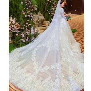 Pre order white long sleeve fishtail Wedding bridal prom dress gown plus size  RB0902