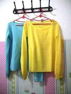 blue yellow plain sweater