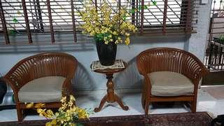 Scanteak with leather seat + round table reduced