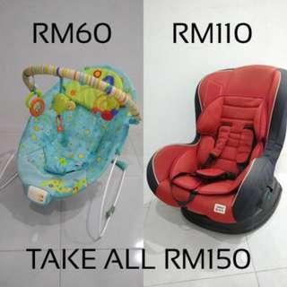 Sweet Cherry Car seat & Bright Starts Bouncer