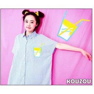(全新)清新果汁印花藍白格紋連袖短袖襯衫 格子襯衫 蝙蝠袖 KOUZOU