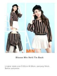Striped Tie Long Sleeves Blouse MINE