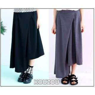 (全新) 不對稱剪裁厚實簡約黑色寬褲 打摺設計褲裙 KOUZOU vii&co X.O.X.O. slightly numb