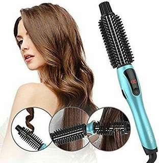 PHOEBE Curling Iron Brush, Dual Voltage Travel 1 Inch Ceramic Tourmaline Ionic Hot Hair Curler Brush, Professional Anti-Scald Instant Heat Up Curling Wands, Heated Styler Brush for Long Hair(Blue)