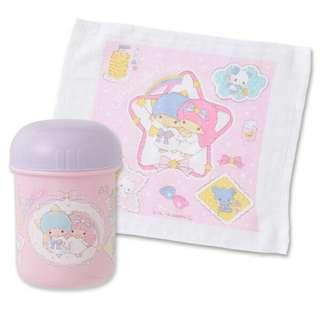 Sanrio 日本正版 Little Twin Stars 雙子星 毛巾 手巾 連 毛巾筒