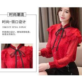 🚚 Pre-order/ 2019 CNY/ Red Blouse with lantern Sleeve