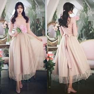 包順豐 韓國 milkcocoa 粉紅色 連身裙 紗裙 外套