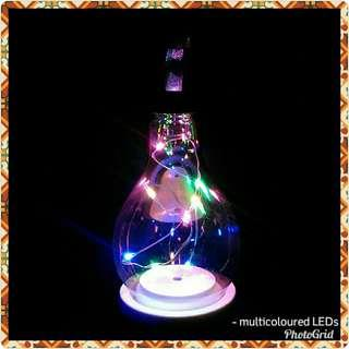 Petite Silver Glass Bulb with Multicolored Fairy Lights