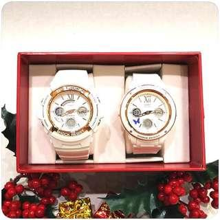 COUPLE💝PAIR SET in LIMITED EDITION DIVER WATCH : 1-YEAR OFFICIAL WARRANTY : 100% ORIGINAL AUTHENTIC BABY-G-SHOCK in WHITE ROSE🌹GOLD : Best For Most Rough Users: LOV-18A-7ADR / LOV-18A-7A / LOV-18 / LOV18A-7A /  / BABYG / GSHOCK WATCH