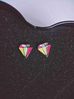 Geometric Diamond Fashionable Earrings Stud