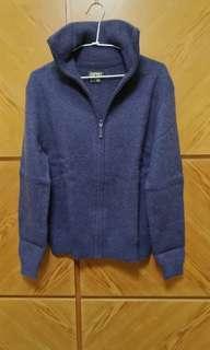 🚚 保暖冬衣,100%小羊毛ESPRIT高領拉鏈羊毛外套毛衣,9成新,size S,肩44cm,胸50,衣長56,袖長61,下擺0.