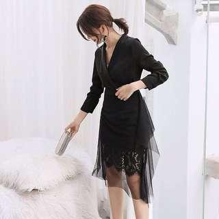 黑色蕾絲紗裙套裝