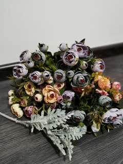 Artificial flowers and leaves