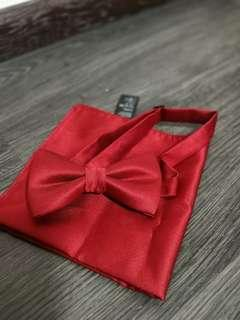 Maroon/burgundy pocket square and bow tie