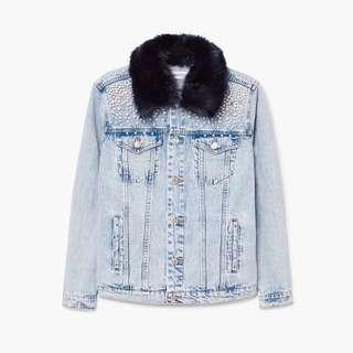 🚚 全新 MANGO 深藍毛領珍珠牛仔外套 Zara風格