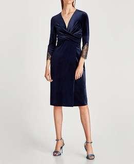 ZARA Velvet Lace Midi Dress #xmas25