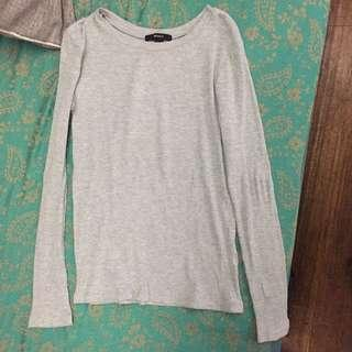 F21 Grey Ribbed Longsleeves