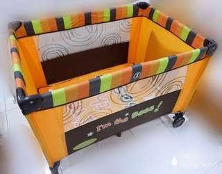 Pre-Loved Bumble Bee foldable cot & playpen with Latex Mattress