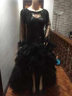 Black long trailed beaded gown