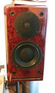 Lacquer wood veneered 2 way bookshelve speakers