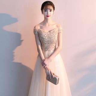 Champagne Sequin Offshoulder Gown/ Long Evening Dress/ Dinner Dress/ Maxi Dress/ Prom Dress/ Wedding Dress/ Bridal Dress/ Bridesmaid Dress (RENT)